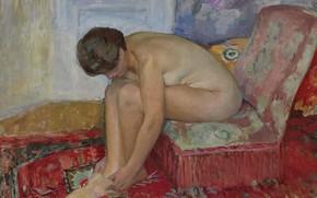 Картинка Сидящая Обнаженная, Henri Lebasque, эротика, картина, Анри Лебаск