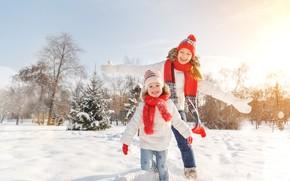 Обои зима, снег, девочка, мама