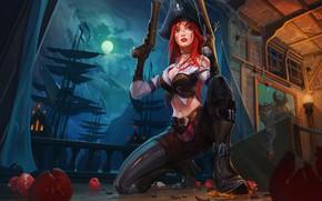 Обои облака, the Bounty Hunter, небо, полнолуние, lol, девушка, ночь, мушкет, луна, art, Miss Fortune, рыжая, ...