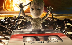 Обои cinema, space, Marvel, movie, film, Groot, Baby Groot, Guardian of the galaxy vol.2, Guardian of ...