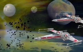 Обои Death Star, планета, летателные аппараты, Fighter Duo, Звезда Смерти, Звёздные Войны, Star Wars, X-wing Starfighter