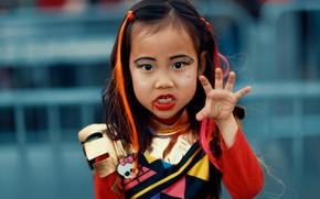 Картинка лицо, стиль, волосы, ребенок, макияж, зомби