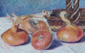 Картинка пейзаж, картина, Alfred Sisley, Альфред Сислей, Натюрморт с Луком