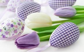 Обои весна, decoration, pastel, Easter, Пасха, тюльпаны, tulips, happy, delicate, spring, flowers, eggs, цветы