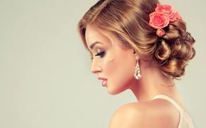 Картинка девушка, модель, волосы, розы, макияж, прическа, профиль, сережки, фотограф Edward Derule
