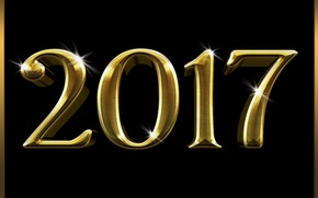 Картинка Новый Год, metal, golden, gold, new year, happy, fireworks, 2017