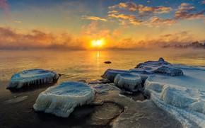 Картинка Закат, Природа, Лед