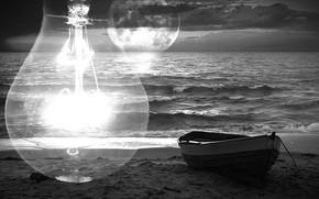 Картинка море, волны, лампочка, закат, лодка, Луна
