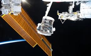 Обои НАСА, орбита, МКС, солнечная батарея