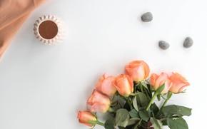 Картинка камни, розы, свеча, букет, бутоны, stones, bouquet, roses, candle, buds