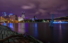 Обои США, Питтсбург, ночь, Pittsburgh, огни