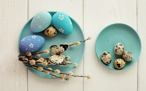 Обои decoration, верба, wood, Easter, Пасха, яйца крашенные, Happy, spring, eggs