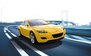 Обои Дорога, Авто, Желтая, Город, Mazda, Скорость, Мазда РХ 8