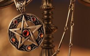 Картинка металл, камни, звезда, кулон, украшение