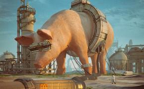 Картинка транспорт, завод, человек, свинья, MCD 2085