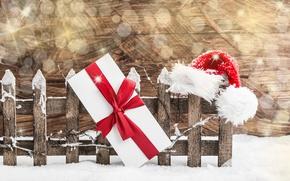 Обои Подарки, Праздники, Забор, Шапки, Новый Год, Лента, Бант