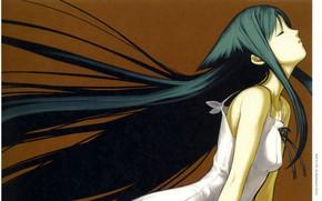 Картинка сказка, девочка, профиль, белое платье, длинные волосы, art, закрытые глаза, Saya no Uta, Песнь Саи, …