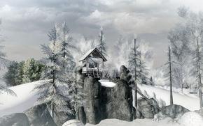 Картинка зима, лес, деревья, скалы, домик, surreal