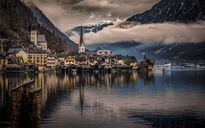 Картинка облака, горы, озеро, дома, Австрия, Халльштатт