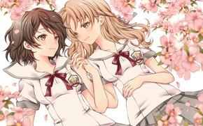 Картинка цветы, девочки, аниме, розовые