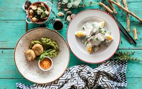 Картинка зелень, еда, хлеб, суп, мясо, овощи, соус, салат, блюда, закуска, сухарики