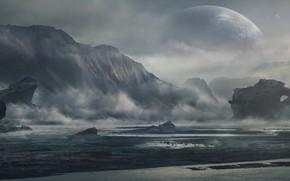 Картинка горы, берег, залив, planet