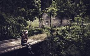 Обои девушка, мост, дом