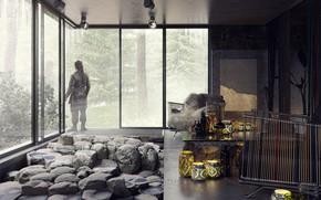 Картинка лес, камни, мужик, помещение, The House on the Silver Mountain