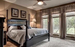 Картинка кровать, подушки, окно, спальня
