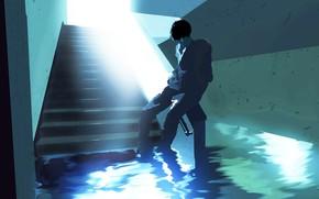 Картинка вода, коридор, парень