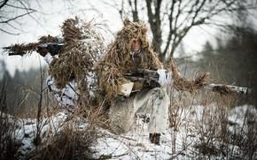 Картинка зима, маскировка, винтовки, снайпера