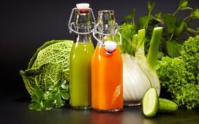 Картинка зелень, сок, напиток, овощи, капуста