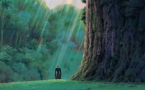 Картинка green, grass, robot, trees, anime, rocks, mood, loneliness, movie, Hayao Miyazaki, film, feeling, meadow, vegetation, …