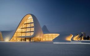 Картинка city, lights, clear sky, twilight, sky, square, modern, evening, architecture, building, cityscape, tiles, Azerbaijan, Baku, …