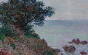 Картинка море, пейзаж, камни, дерево, скалы, Claude Monet, Клод Моне, Средиземноморское Побережье. Пасмурная Погода