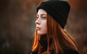 Картинка взгляд, рыжеволосая, шапочка, фильтр