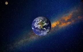Обои космос, туманность, вселенная, планеты, фотошоп, звёзды, Луна, Земля