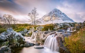 Обои река, ручей, камни, гора, Шотландия, Buachaille Etive Mor