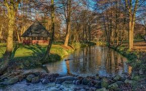 Картинка солнце, деревья, парк, ручей, камни, утки, Германия, беседка, Saxony, Sittensen