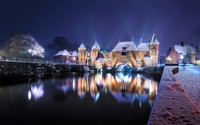 Обои Нидерланды, замок, ворота, мост, река, набережная, река Эм, Амерсфоорт, Liendert, Eem River, Koppelpoort, Amersfoort, Netherlands, ...