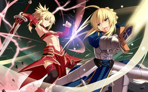 Картинка sword, dress, ken, blade, queen, warrior, king, Saber, Arthur, Type Moon, Fate Seies