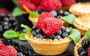Картинка ягоды, малина, черника, десерт, сладкое, тарталетки