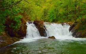 Картинка Зелень, Природа, Весна, Водопад, Nature, Green, Spring, Waterfall