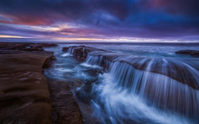 Картинка выдержка, скалы, океан, вода, море, потоки