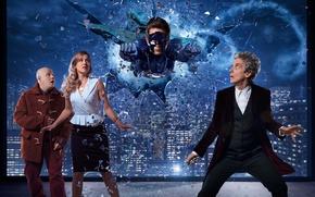 Картинка небо, стекло, осколки, город, фантастика, дома, окно, Doctor Who, супергерой, Доктор Кто, Peter Capaldi, Двенадцатый …