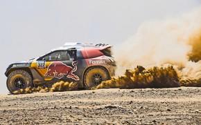 Картинка 2008, Пыль, Спорт, Скорость, Гонка, Peugeot, Жара, Red Bull, Rally, Dakar, Дакар, Ралли, Sport, DKR, …