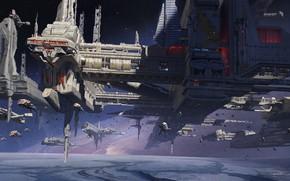 Картинка космос, планета, звёзды, база, Armada