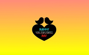 Картинка птицы, текст, сердце, минимализм, День Святого Валентина