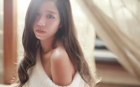 Картинка девушка, лицо, волосы, восточная, красотулька
