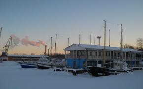 Картинка зима, корабли, набережная, Петрозаводск